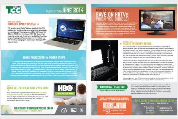 TCC Newsletter, Rebranding, Print Design, Graphic Design Eau Claire, WI - Satellite Six