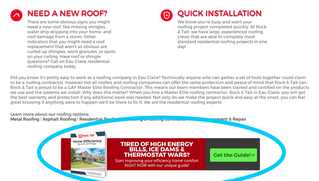 banner ad on an industrial webpage for a free guide