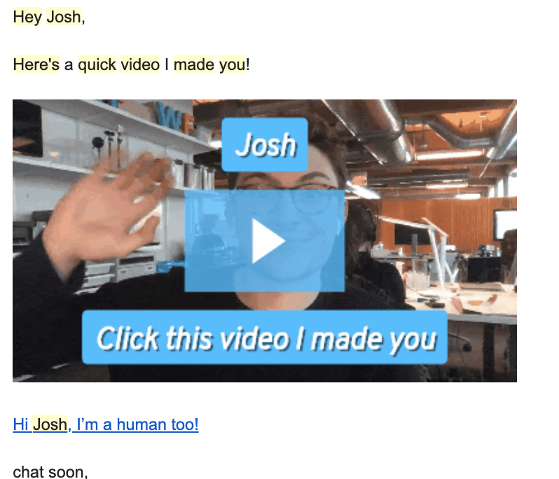example of video marketing for sales email