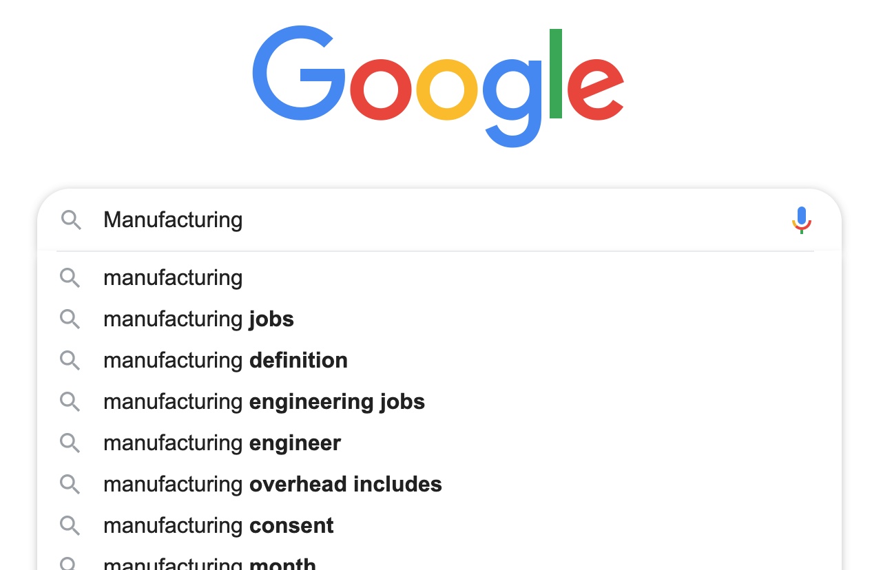 google search for manufacturing terms