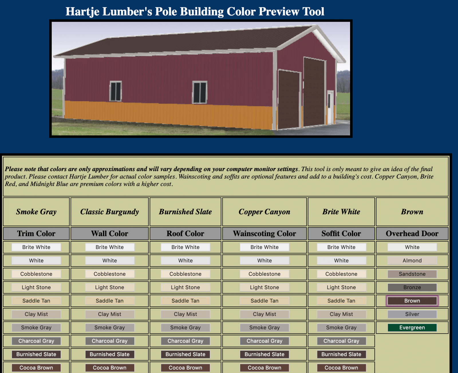 Hartje Lumber post frame color visualizer